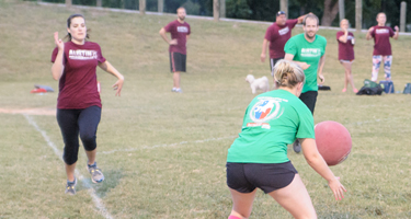 team playing kickball