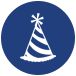 party hat icon for adult coed charity christmas party san antonio tx